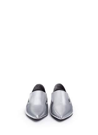 Front View - Click To Enlarge - Alexander Wang  - 'Jamie' elastic band metallic leather slip-ons