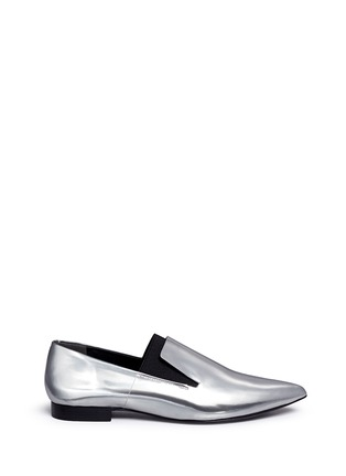 Main View - Click To Enlarge - Alexander Wang  - 'Jamie' elastic band metallic leather slip-ons