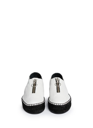 Front View - Click To Enlarge - Alexander Wang  - Devon' zip leather espadrille sneakers