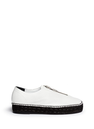 Main View - Click To Enlarge - Alexander Wang  - Devon' zip leather espadrille sneakers