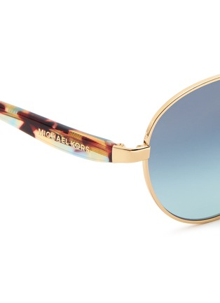 Detail View - Click To Enlarge - Michael Kors - 'Sadie III' tortoiseshell acetate temple round metal sunglasses