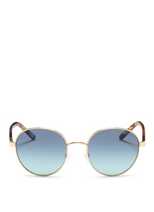 Main View - Click To Enlarge - Michael Kors - 'Sadie III' tortoiseshell acetate temple round metal sunglasses