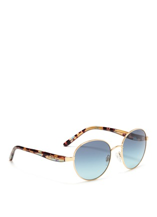 Figure View - Click To Enlarge - Michael Kors - 'Sadie III' tortoiseshell acetate temple round metal sunglasses