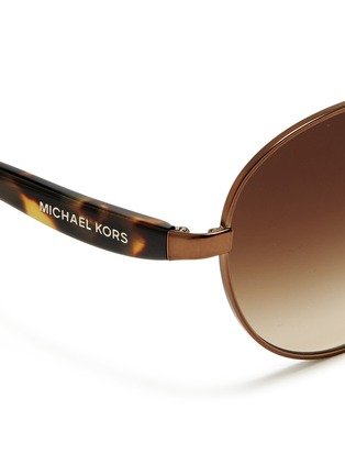 Detail View - Click To Enlarge - Michael Kors - 'Sadie III' tortoiseshell acetate temple round sunglasses