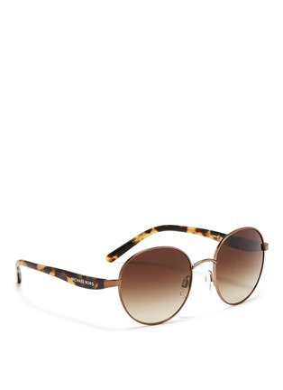 Figure View - Click To Enlarge - Michael Kors - 'Sadie III' tortoiseshell acetate temple round sunglasses