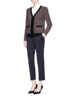 ST. JOHN'Regatta' wool blend diamond knit zip cardigan
