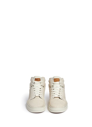 Front View - Click To Enlarge - Vans - 'Alomar' crackle leather mid top sneakers
