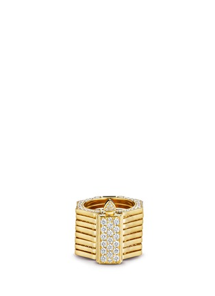 Main View - Click To Enlarge - Lynn Ban - 'Reverso' diamond 14k yellow gold octagonal convertible bracelet ring