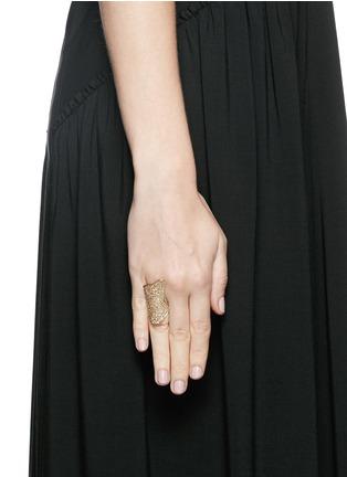 Lynn Ban-'Pavé Armor' diamond 14k yellow gold ring