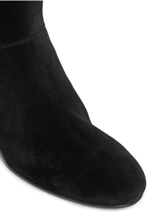 Detail View - Click To Enlarge - Lanvin - Leather tassel suede knee high wedge boots