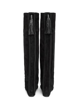 Back View - Click To Enlarge - Lanvin - Leather tassel suede knee high wedge boots