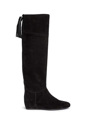 Main View - Click To Enlarge - Lanvin - Leather tassel suede knee high wedge boots