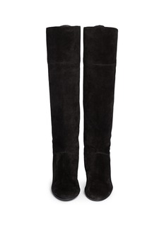 LANVIN Leather tassel suede knee high wedge boots