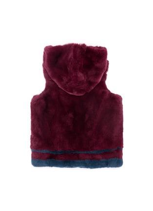 Back View - Click To Enlarge - Yves Salomon - Stripe rabbit fur zip hooded junior gilet