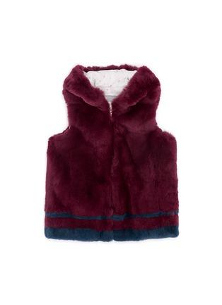 Main View - Click To Enlarge - Yves Salomon - Stripe rabbit fur zip hooded junior gilet