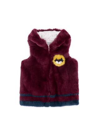 Figure View - Click To Enlarge - Yves Salomon - Stripe rabbit fur zip hooded junior gilet