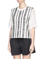 Silk chiffon sleeve sketch stripe top