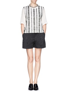 3.1 PHILLIP LIM Silk chiffon sleeve sketch stripe top