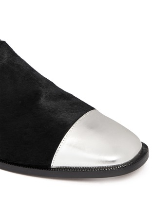 Detail View - Click To Enlarge - Marni - Leather and calf hair slip-ons