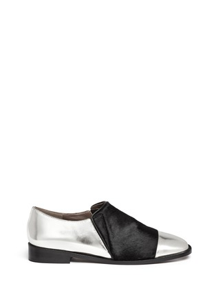 Main View - Click To Enlarge - Marni - Leather and calf hair slip-ons