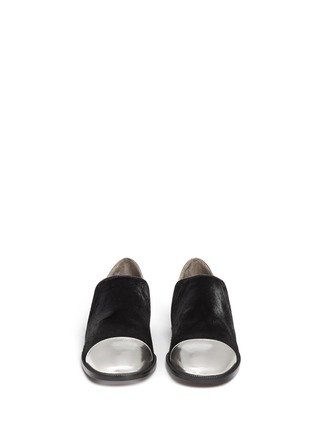 Figure View - Click To Enlarge - Marni - Leather and calf hair slip-ons