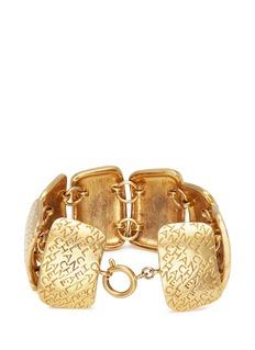 Vintage Chanel Logo square plate link bracelet