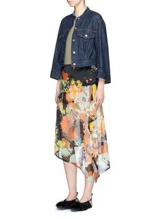 Dries Van Noten'Sayce' asymmetric crepe overlay floral print satin skirt