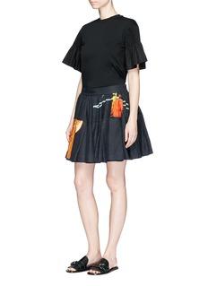 Dries Van Noten'Synge' pleated hem floral print flared linen skirt