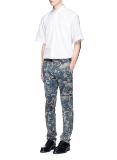 Dries Van Noten Piqué back poplin short sleeve shirt