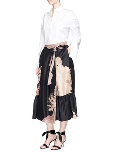 Dries Van Noten'Skey' floral print silk satin wrap skirt