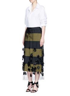 Dries Van Noten'Schiller' paillette pompom tulle overlay stripe taffeta skirt