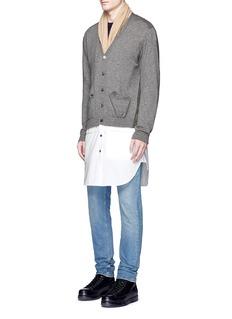 JohnundercoverShirt hem wool blend cardigan