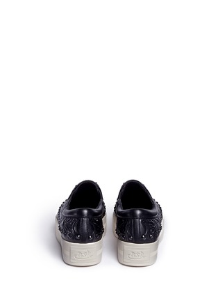 Back View - Click To Enlarge - Ash - 'Kripton' skeletal detail stud leather skate slip-ons