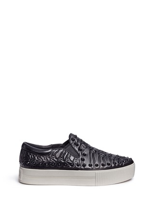 Main View - Click To Enlarge - Ash - 'Kripton' skeletal detail stud leather skate slip-ons