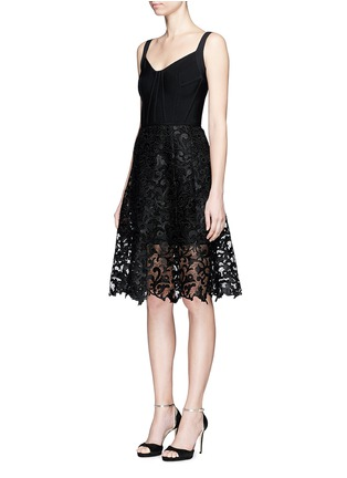 Front View - Click To Enlarge - Oscar de la Renta - Baroque guipure lace skirt overlay corset dress