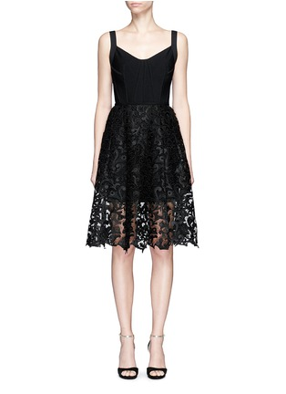 Main View - Click To Enlarge - Oscar de la Renta - Baroque guipure lace skirt overlay corset dress