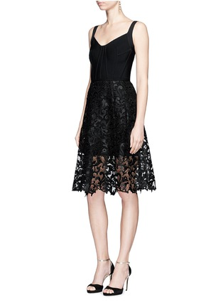Figure View - Click To Enlarge - Oscar de la Renta - Baroque guipure lace skirt overlay corset dress