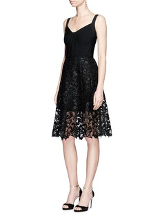 Oscar de la Renta Baroque guipure lace skirt overlay corset dress