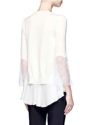 Back View - Click To Enlarge - Oscar de la Renta - Floral lace sleeve ruffle virgin wool sweater