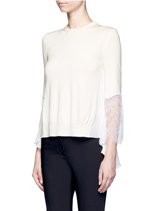 Front View - Click To Enlarge - Oscar de la Renta - Floral lace sleeve ruffle virgin wool sweater