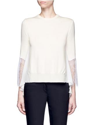 Main View - Click To Enlarge - Oscar de la Renta - Floral lace sleeve ruffle virgin wool sweater