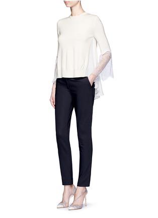 Figure View - Click To Enlarge - Oscar de la Renta - Floral lace sleeve ruffle virgin wool sweater