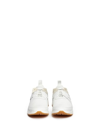 Front View - Click To Enlarge - Neil Barrett - 'Molecular Runner' nubuck leather mesh sneakers