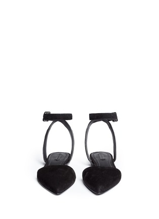 Front View - Click To Enlarge - Alexander Wang  - 'Lauren' ankle strap suede flats