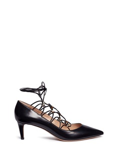 Valentino'Rockstud' caged lace-up leather pumps