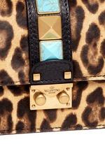 'Rockstud Lock' mini leopard print calfhair chain bag
