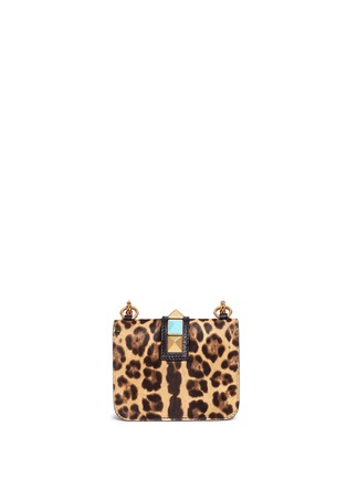 Back View - Click To Enlarge - Valentino - 'Rockstud Lock' mini leopard print calfhair chain bag