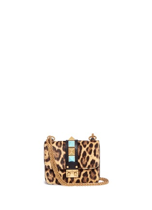 Main View - Click To Enlarge - Valentino - 'Rockstud Lock' mini leopard print calfhair chain bag