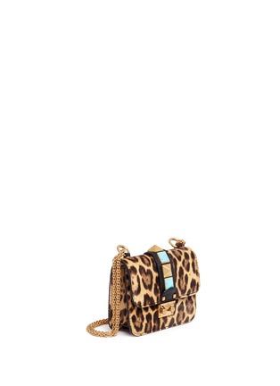 Valentino-'Rockstud Lock' mini leopard print calfhair chain bag