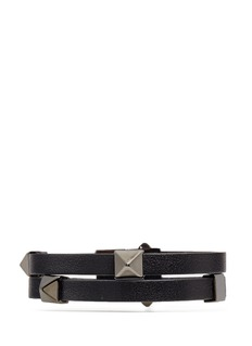 Valentino 'Rockstud' double strap leather bracelet